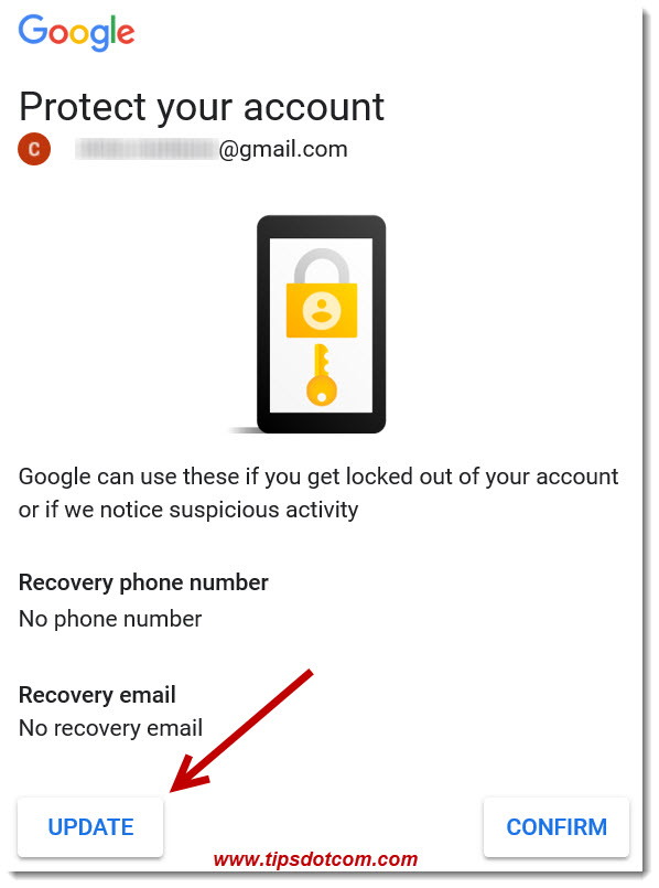 Google - Protect Your Account Screen