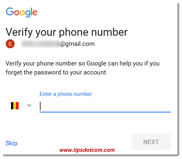 Google Verify Or Skip Your Phone Number