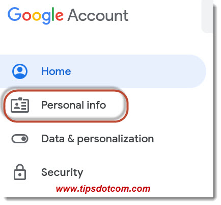 Google Account - Personal Info