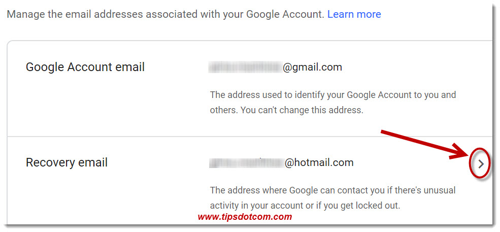 The Google account recovery email section