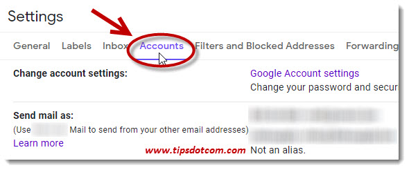 Select accounts in your Gmail settings