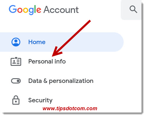 Go to Personal info to add your phone number to your Google account