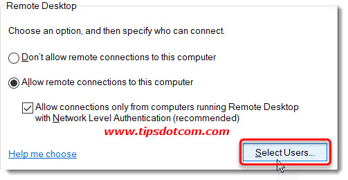 Allow remote connections to this computer - select users