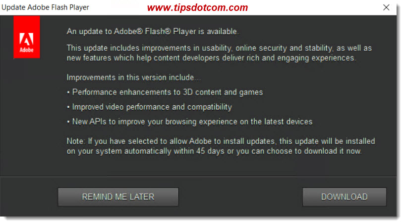 An update to Adobe Flash Player is available - 01