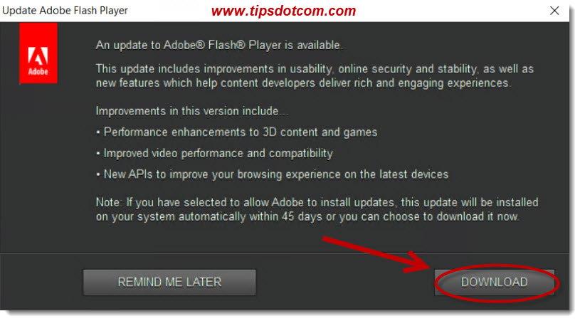 An update to Adobe Flash Player is available - 03
