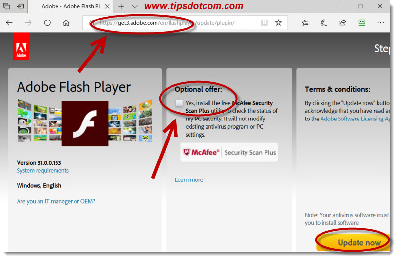 An update to Adobe Flash Player is available - 03b