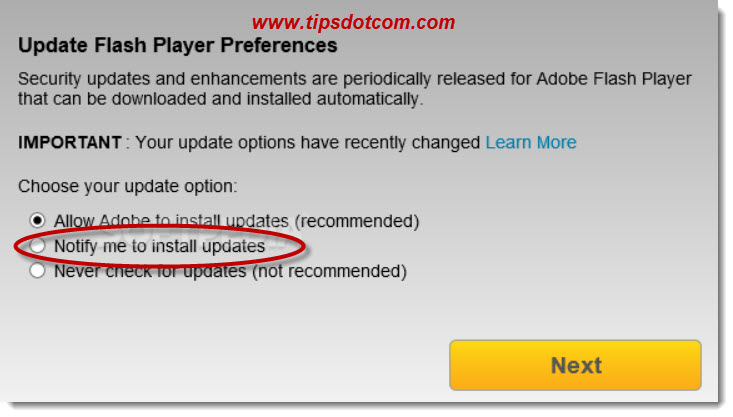 An update to Adobe Flash Player is available - 06