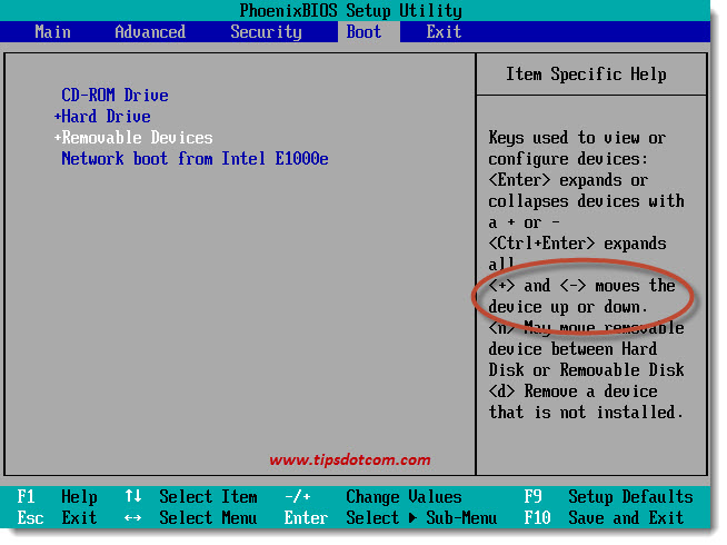 Change BIOS Boot Sequence 04