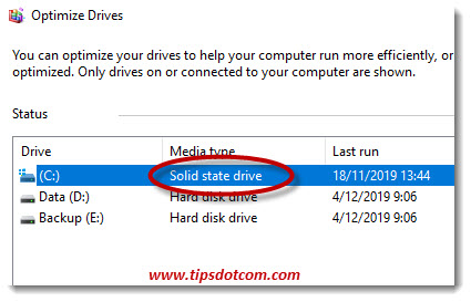 Windows 10 drive optimizer to check if a hard drive is ssd