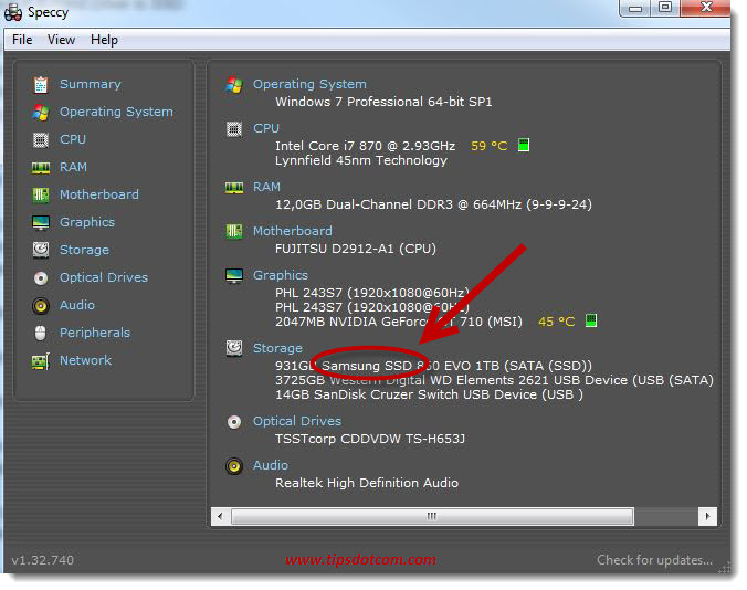 Samssung ssd type drive detected