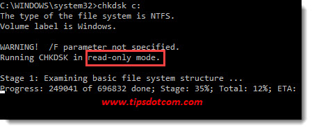 chkdsk on ssd drives - read-only mode