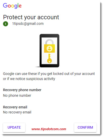 The Google Protect Your Account Dialog