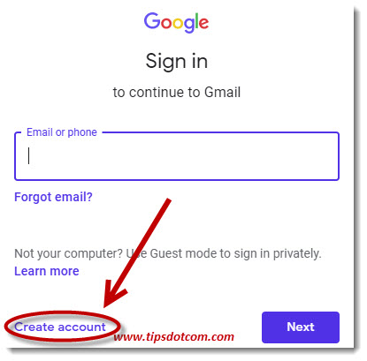 Create a Gmail account for someone