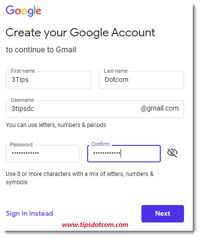 Enter the info to create the Gmail account