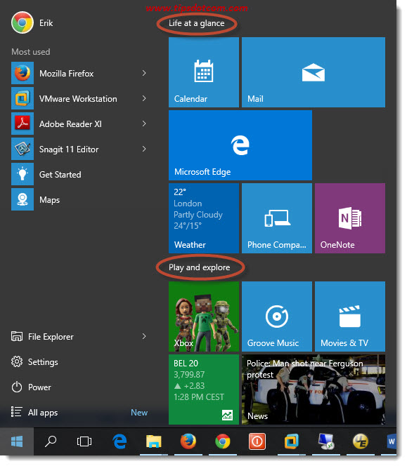 Customize Windows 10 Start Menu 01