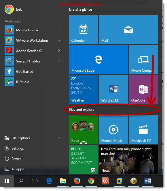 Customize Windows 10 Start Menu 12