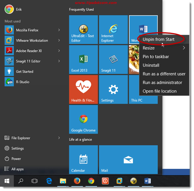 Customize Windows 10 Start Menu 17