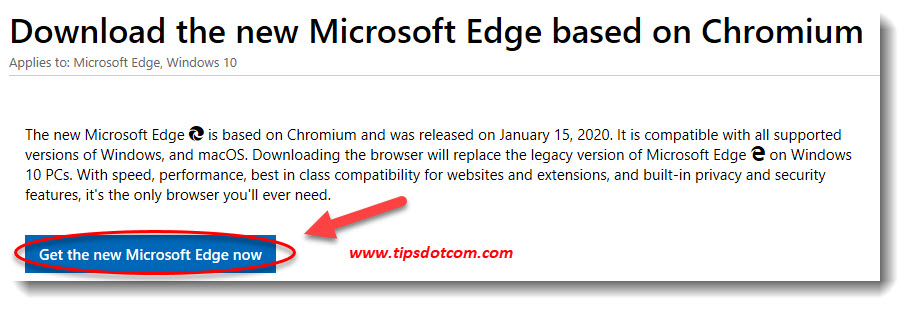 Download Chromium Edge from Microsoft
