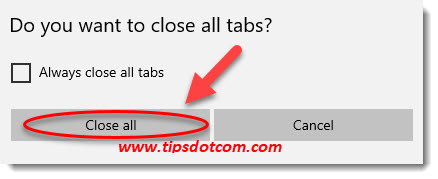 Close all Edge tabs