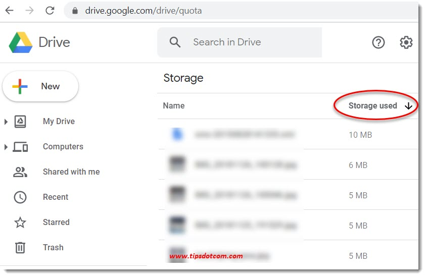 Google Drive storage sorted by size