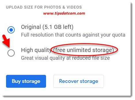 Switching Google Photos to High Quality gets unlimited space