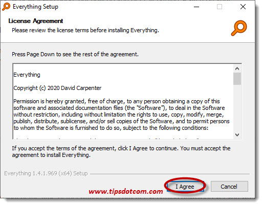 Everything search license agreement