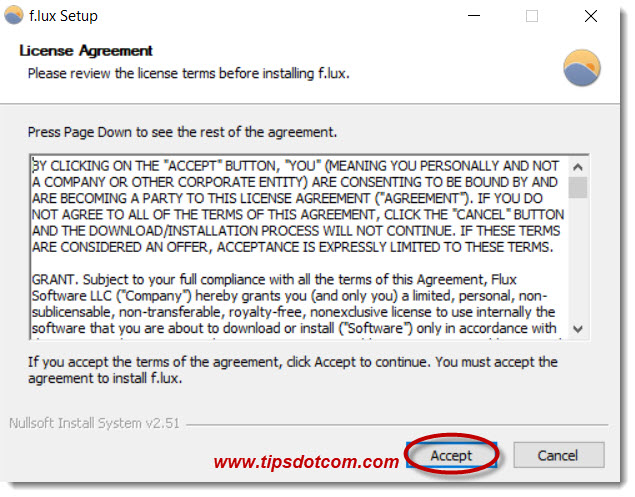 f.lux for Windows license agreement