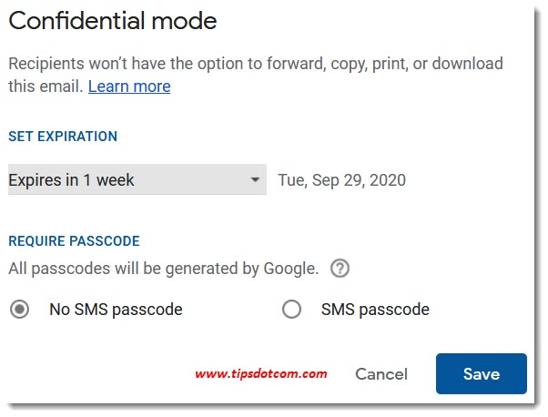 Gmail confidential mode options