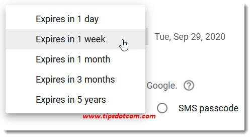 Gmail confidential mode expiration options