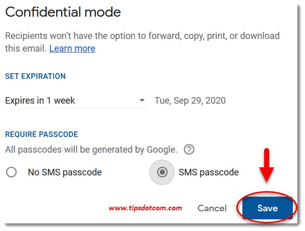 Gmail confidential mode passcode