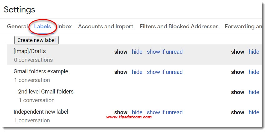 Gmail labels settings