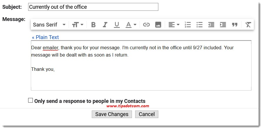 Gmail out of office message