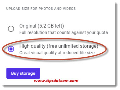 Google Photos unlimited storage free