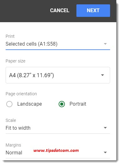 Google Sheets print settings