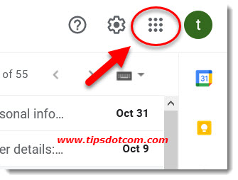 The Google apps icon in your Google account