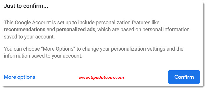 Google account personalization options