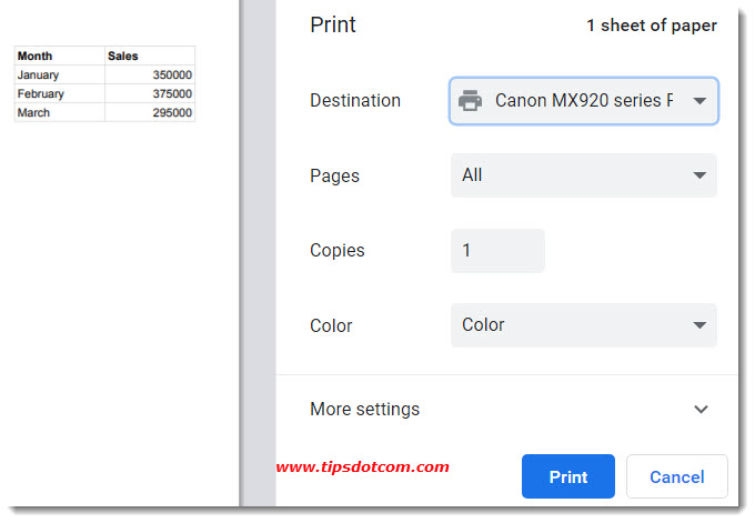 How to Print Only Selected Cells in Google Sheets