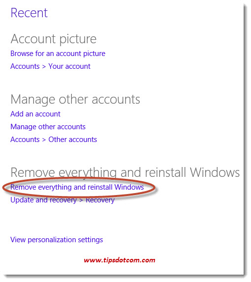 How to Reset Windows 8 -Step 03