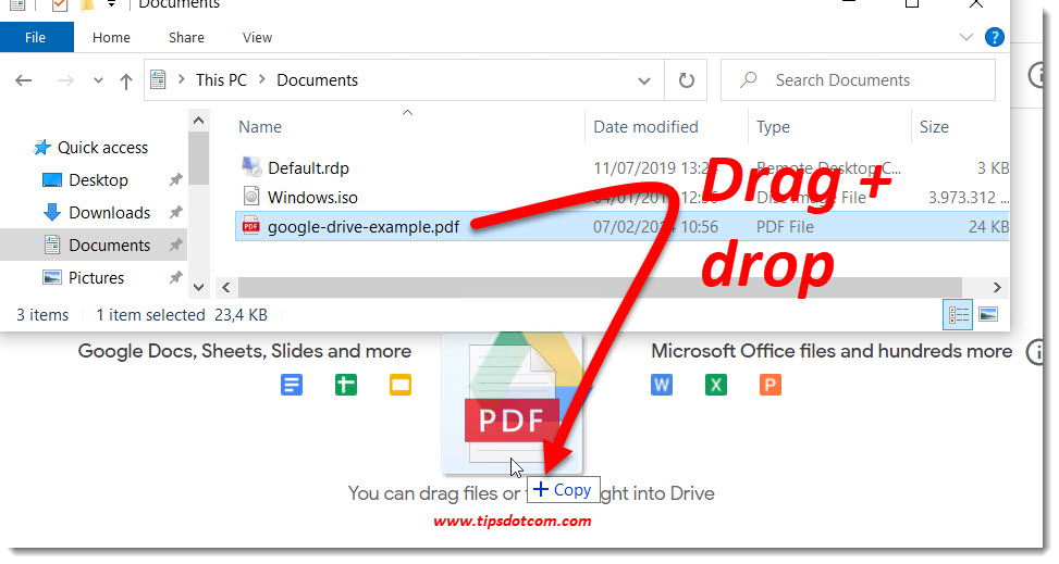 How to use Google Drive - drag and drop