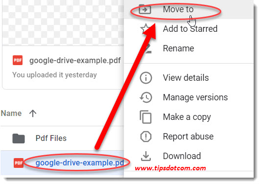 How to use Google Drive - moving to a folder