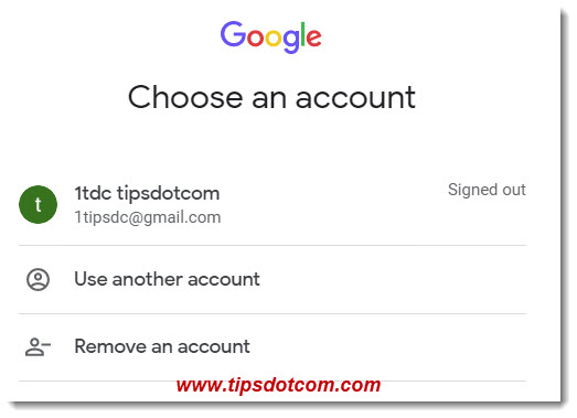 The Google Gmail sign in page - choose an account