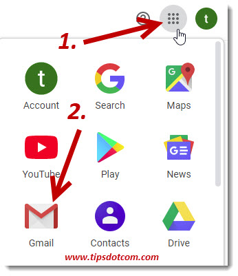 Using the app icon to go to Gmail