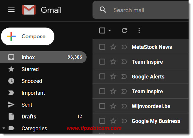 Gmail inbox in dark mode