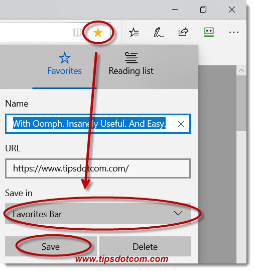 Another way to add things to the Microsoft Edge favorites bar