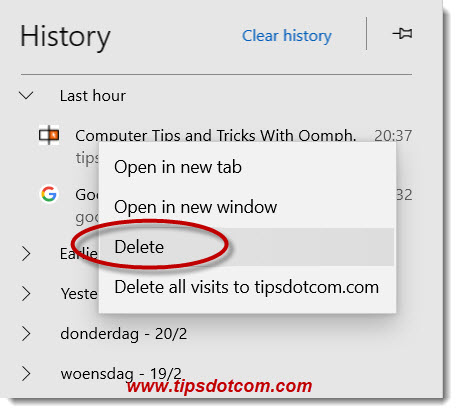 Deleting from Microsoft Edge history