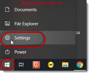 Click start - settings