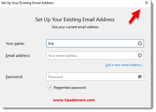 Move Thunderbird to a new computer - close email account window