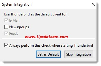 Move Thunderbird to a new computer - skip integration