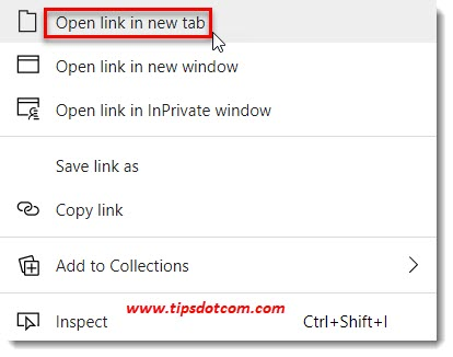 Microsoft Edge open link in new tab