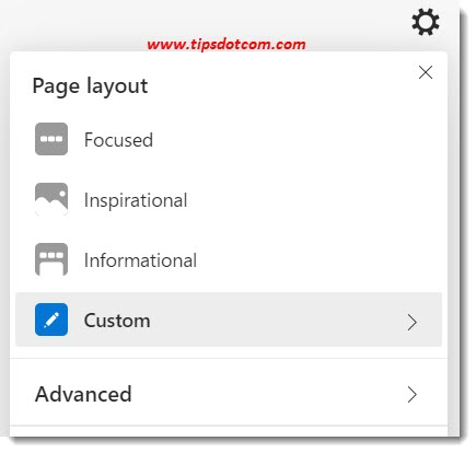 New Microsoft Edge new tab page settings